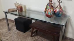 Bufet de vidro e metal semi novo