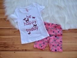 Conjunto Infantil Cativa Menina T-shirt E Bermuda