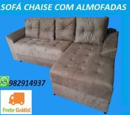 Otimo Preço+Frete Gratis!!Sofa Chaise 3 Lugares +Almofadas Apenas 799,00