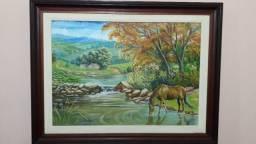 Promoção llPintura oleo sobre tela. Paisagem rural cavalo bebendo água em um riacho.