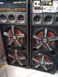 KIT 2 CAIXAS SOM AMPLIFICADA NKS 600W FALANTES DE 10 POLEGADAS USB FM MP3 SD BLUETOTH