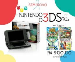 New Nintendo 3DS XL seminovo + 4 jogos