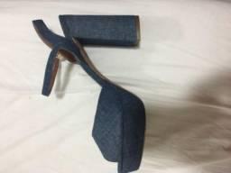 Sandália salto alto jeans Corello 37