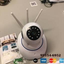 Câmera IP de acesso remoto grava 3 antenas, veja sua casa pelo celular