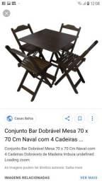 Jogo mesa madeira dobrável