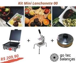 Kit Mini Lanchonete - Chapa Lanche + Cortador Batata Palito + Abafador de Hamburguer