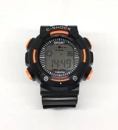 Relógio Digital Infantil Laranja e Preto Com LED Colorido Produto Novo