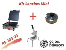 Kit Mini Lanchonete - Chapa de Lanche + Cortador Batata Palito + Abafador Aluminio