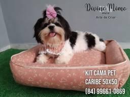 """Kit cama Pet """"Romance Caribe"""" coleção Divino Mimo Ateliê"""