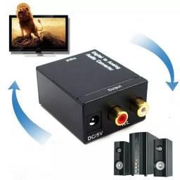 Conversor de áudio  fibra ótica, para o amplificador de rca r/l e P2
