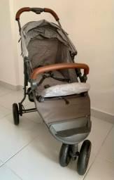 Carrinho de Bebê ABC Design Movi-me Light Woden Grey (Detalhe em Couro)