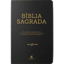 Bíblia Sagrada Nvi Couro Soft Preto Letras Vermelhas, Índice De Dedo