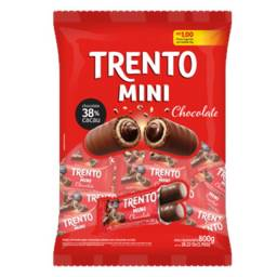 Chocolate Trento Mini 800g 50 unidades Wafer Recheado Coberto com Chocolate