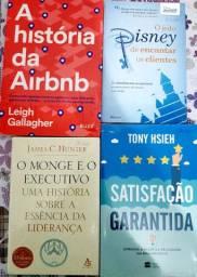 Livros O Monge e o Executivo. A história da airbnb. O jeito Disney. Satisfação garantida.