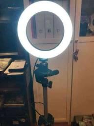 Iluminador RING LIGHT 26 cm com Tripé  + suporte central<br>