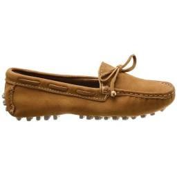 Sapatilha sapato mocassim feminino couro nobuck