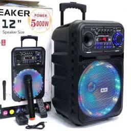 Som 5000W Bluetooth, Microfone e Controle grátis e alças e rodinhas para transporte!<br>