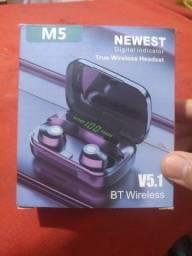 Fone de ouvido bluetooth sem fio M5 Tws