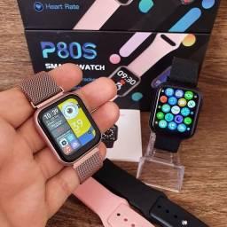 Relógio Smartwatch P80S 40mm Rose com 2 Pulseiras Coloca foto e Faz ligação