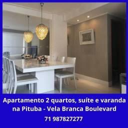 Lindo apartamento 2 quartos, suíte, varanda, armários na Pituba - Vela Branca Boulevard
