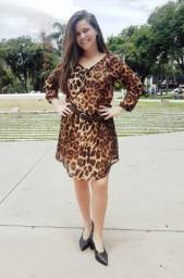 Vestido Yessica curto animal print como nova