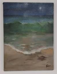 Quadro: Luar da Praia - Pintura Óleo