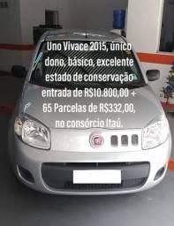 Uno 2015 - Entrada R$ 10.800,00 + 65 parcelas de R$ 332,00