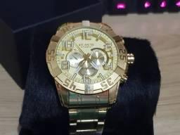 3ae6bff3397 Relógio de Luxo Atlantis Dourado Muito Lindo! Com Caixa Atlantis Imperdivel
