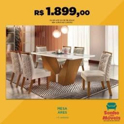 Mesa de Jantar Ares 6 cadeiras LJ Móveis - Envie Seu pedido pague na entrega