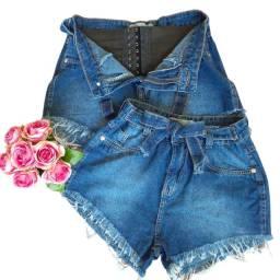 Shorts Jeans Com Cinta Modeladora Lipo