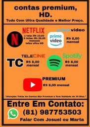 NETFLIX PRIME VÍDEO TELECINE SPOTIFY YOUTUBE PREMIUM