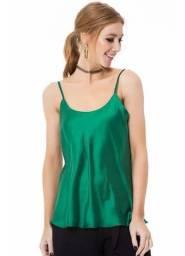 Blusa de cetim Rosa e verde (produto novo )