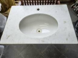 Pia de Mármore branco Lavatório com cuba Deca, 70x50cm retirado apto novo!