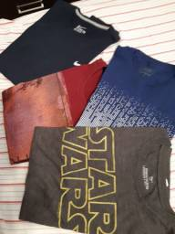 4 camisetas tamanho M, semi novas