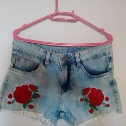 Short Jeans Bordado tamanho 38