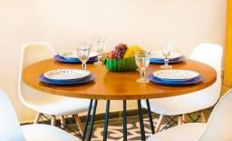 Jogo de mesa estilo industrial Redonda 1,15 de diâmetro 4 cadeiras