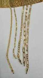 Correntes e pulseiras prata 925 e banhada a ouro