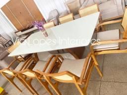 Mesa de 2.10 com oito cadeiras aqui na Via Lopes wpp 62 9  *