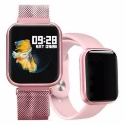 Smart watch P80 tela Touth IP68 à prova d'água, 2 pulseiras para Android e IOS