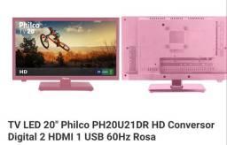 "Tv led 20"" na cor rosa"