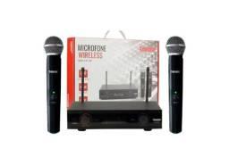 Microfone Duplo Sem Fio 60m Uhf Digital Wireless P/ Igrejas Reuniões