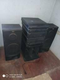 Kit vitrola e caixas de som com hack para discos
