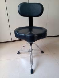 Cadeira (banco)com encosto para baterista, fixa ou giratória, material boa qualidade
