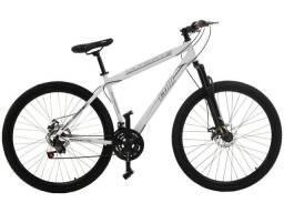 Bicicleta Aro 29, freio a disco 21 marchas. Branca.