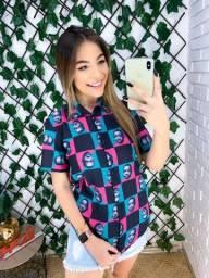 atacadao das camisas sociais estampadas femininas