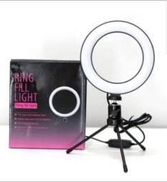 Ring Light Iluminador Selfie Makeup + Tripé De Mesa Luz Led