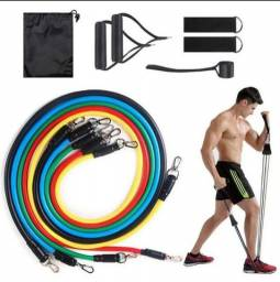 Kit Elástico Extensores 11 peças Fitness Yoga Pilates