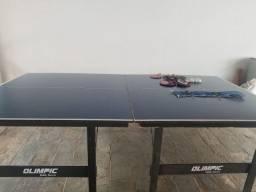 Mesa de Ping Pong Olimpic com 3 raquetes e bolinhas de ping pong