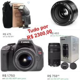 Câmera Canon T3i / 2 Lentes, 50mm E 75-300mm + Flash Yungo, 468 II