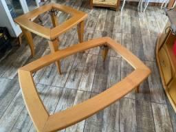 Mesas com tampo de vidro! Madeira